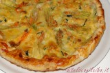 Torta salata con fiori di zucchina e formaggio Emmental
